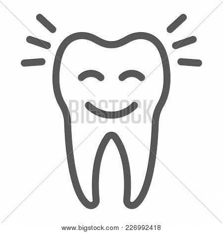 Smiling Tooth Line Icon, Stomatology And Dental, Cleaned Tooth Sign Vector Graphics, A Linear Patter