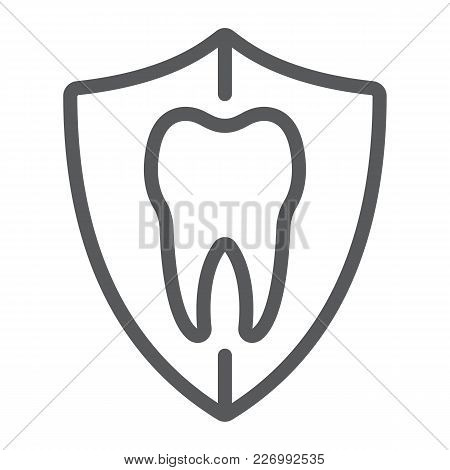 Dental Protection Line Icon, Stomatology And Dental, Tooth In Shield Sign Vector Graphics, A Linear