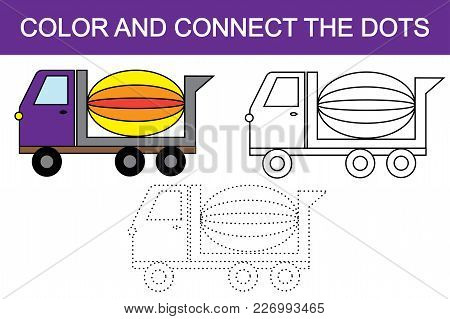 Color And Connect The Dots To Create Concrete Mixer (transport). Vector Illustration.