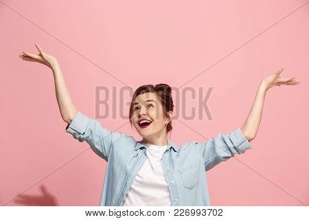 I Won. Winning Success Happy Woman Celebrating Being A Winner. Dynamic Image Of Caucasian Female Mod