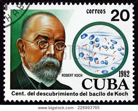 Cuba - Circa 1982: A Stamp Printed In Cuba Dedicated To Discovery Of The Tubercle Bacillus By Dr. Ro