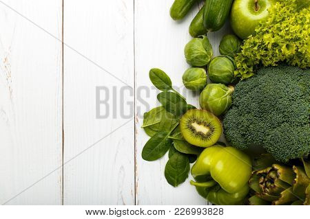 Mix Of Green Fruits And Vegetables, Kiwi,cucumber,broccoli,green Apple,artichokes, Brussel Sprout,sp