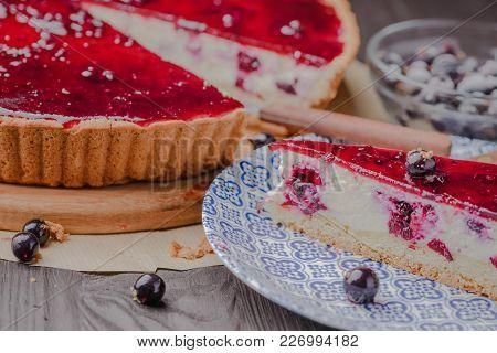 Polish Curd Pie,cottage Cheese Pie,curd Pie With Berries,polish Traditional Pie,curd Pie With Berrie