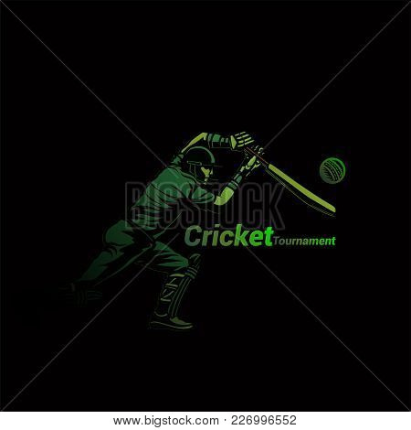 Cricket Player Ready For Hitting Ball With Typography Vector Illustration Design.