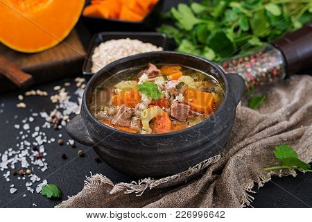 Thick Soup With Beef, Pearl Barley, Pumpkin And Celery. Dietary Menu.