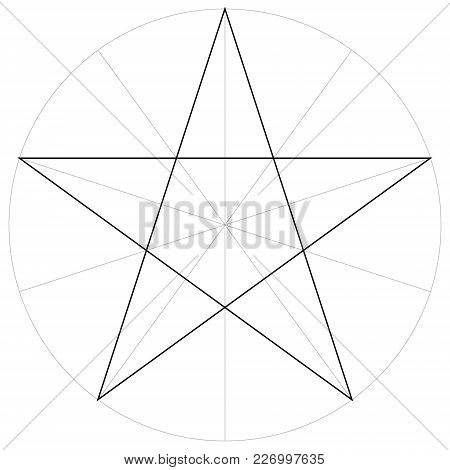 Correct Form Shape Template Of The Geometric Shape Of The Pentagram Five Pointed Star, Vector Drawin