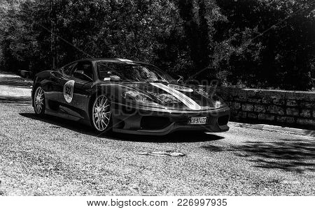 Gola Del Furlo, Italy - May 19: Ferrari Challenge Stradale On An Old Racing Car In Rally Mille Migli