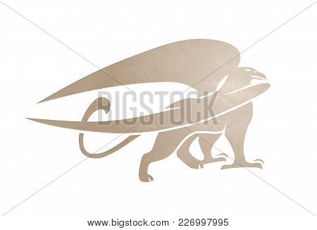 Silhouette Of Griffin. Vector Gryphon Image Of Mythical Creature. Isolated On White Background.