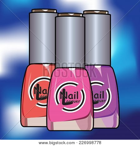 Vector Colors Nail Lacquer Bottles In Background