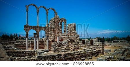 Ruins Of Ancient City Anjar In Bekaa Valley In Lebanon