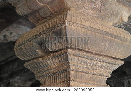 Carved Ornament On Columns In Ancient Indian Cave Temples