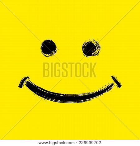 World Smile Day October 6th. Smile, Eyes Painted By Hand With Brush On Yellow Background. Broad Smil
