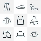 Garment icons line style set with underwear, evening gown, heels and other gumshoes elements. Isolated vector illustration garment icons. poster