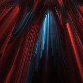 3D fractal abstract parted red velvet curtain with blue light poster