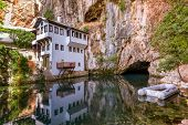 Blagaj dervish house - Bosnia and Herzegovina - architecture travel background poster