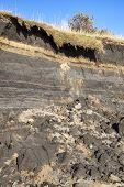 Coastal erosion at the beach of Burry Port Carmarthenshire Wales UK poster