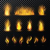 Fire flame vector fired flaming bonfire in fireplace and flammable campfire illustration fiery or flamy set with wildfire isolated on transparent background. poster