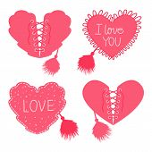 Set Hearts with lacing and corset with fur brush. Vector illustration isolated on white background. poster