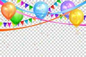 Happy Birthday design. Border of realistic colorful helium balloons and flags garlands isolated on transparent background. Party decoration frame for birthday, anniversary, celebration. Vector illustration, eps 10 poster