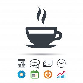 Coffee Cup Icon. Hot Tea Drink Symbol. Statistics Chart, Chat Speech Bubble And Contacts Signs. Chec