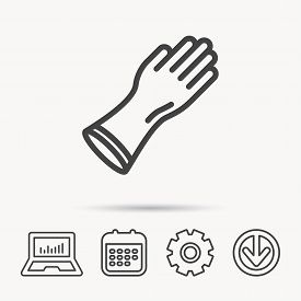 Rubber Gloves Icon. Latex Hand Protection Sign. Housework Cleaning Equipment Symbol. Notebook, Calen