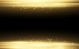 Abstract Stylish Light Effect On A Black Background. Gold Glowing Neon Lines In Motion. Golden Lumin