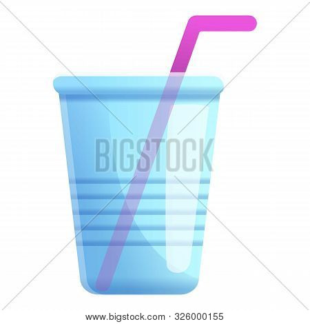 Plastic Used Cup Icon. Cartoon Of Plastic Used Cup Vector Icon For Web Design Isolated On White Back