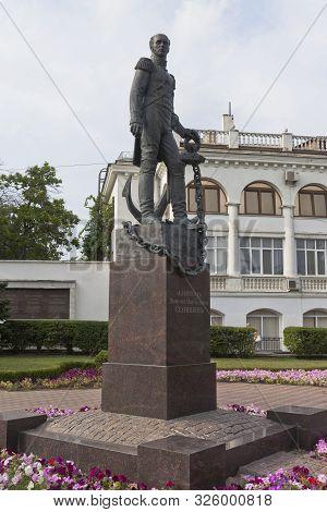 Sevastopol, Crimea, Russia - July 24, 2019: Monument To Admiral Dmitry Nikolaevich Senyavin On Nakhi