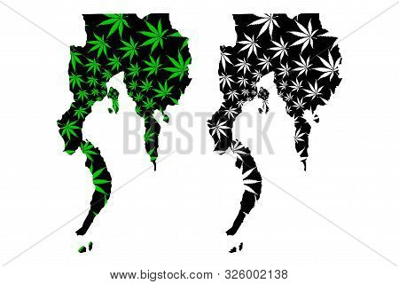 Davao Region (regions And Provinces Of The Philippines) Map Is Designed Cannabis Leaf Green And Blac