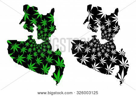 Soccsksargen Region (regions And Provinces Of The Philippines) Map Is Designed Cannabis Leaf Green A