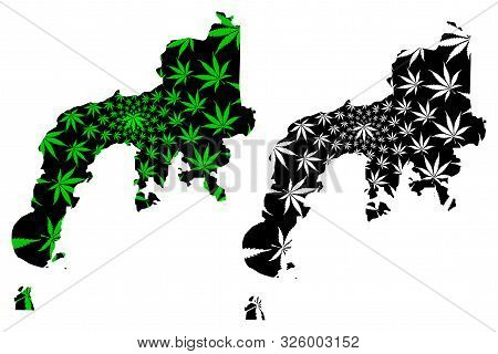 Zamboanga Peninsula Region (regions And Provinces Of The Philippines) Map Is Designed Cannabis Leaf