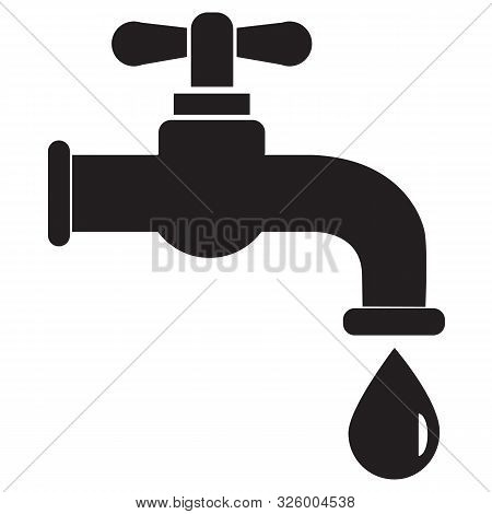 Dripping Tap With Drop Icon On White Background. Flat Style. Water Tap Icon For Your Web Site Design
