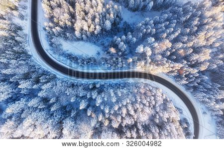 Aerial View On Road And Forest At The Winter Time. Natural Winter Landscape From Drone. Winter - Ima