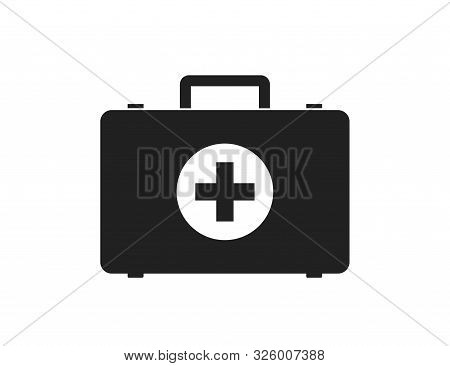 First Aid Medical Briefcase Isolated Vector Icon Sign Or Simbol. Medical Health Care. Flat Vector Ic