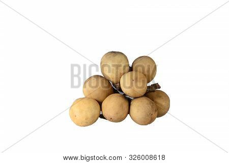 Longkong Fruit On White Background With Clipping Path