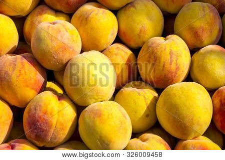 Peach Fruit Close-up. Texture Background Of Sweet Yellow Ripe Peaches. Fruit Peaches Food Image