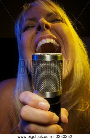 Woman Sings With Passion