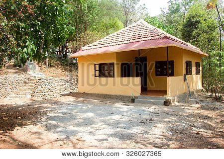 View Of Tourist Accommodation Cottage At Madhu Vana Near Bengaluru, Karnataka, India, Asia