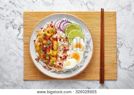 Nan Gyi Thoke At White Marble Background. Nan Gyi Thohk Is Popular Burmese Cuisine Dish With Rice No