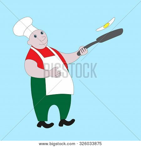 Fat And Cheerful Cook Tosses Fried Eggs In The Pan.