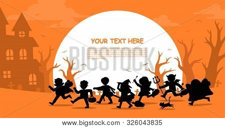 Happy Halloween. Children In Halloween Fancy Dress To Go Trick Or Treating.template For Advertising