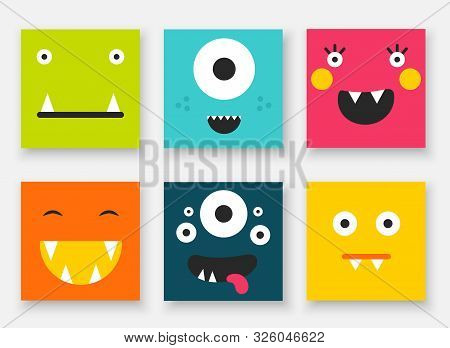 Funny Monsters Collection. Cute Hand Drawn Doodle Cards, Postcards