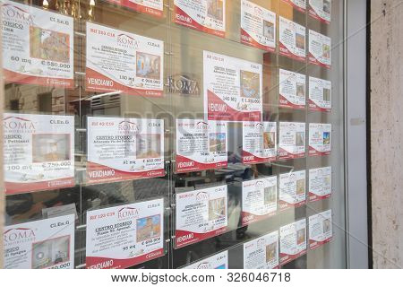Rome Italy - June 14, 2019: Real Estate Agency Display House For Sale Rome Italy