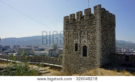 historical fortress of skopje in macedonia in autumn poster