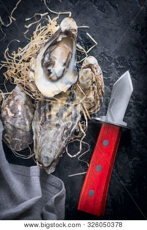 Fresh Oysters close-up with knife, served table with oysters and lemon. Healthy sea food. Oyster dinner in restaurant. Dark background. Seafood, Gourmet food. Flatlay, top view. Vertical image