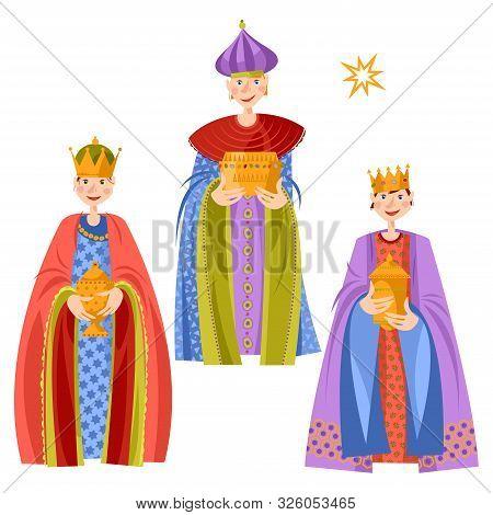 Children In Biblical Magi Costumes. Three Wise Men. Three Kings. Vector Illustration.