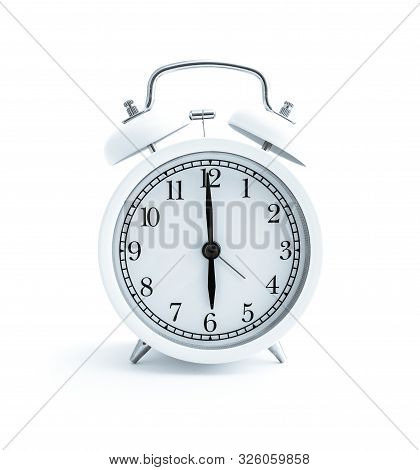White Alarm Clock, Isolated On White Background, Clock Face. Early Morning Time, Day Planning Concep
