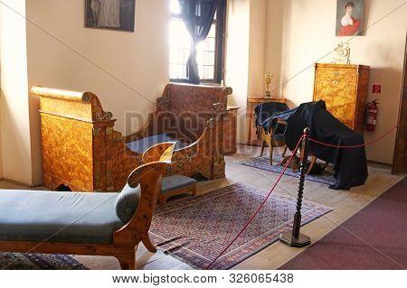 Casta, Slovakia - August 31, 2019: Interior Of Medieval Cerveny Kamen (red Stown) Castle. Furniture