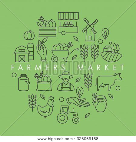Vector Set Of Logos, Badges And Icons For Natural Farm And Health Products. Collection Symbol Of Loc