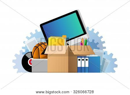 Vector Illustration Of A Cardboard Box With Old Things. Box With Old Stuff Isolated On White Backgro